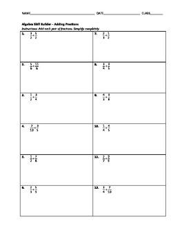 Algebra Skill Builder - Adding Fractions