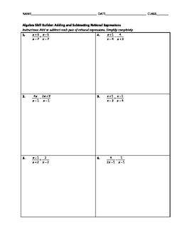 Algebra Skill Builder - Adding and Subtracting Rational Expressions