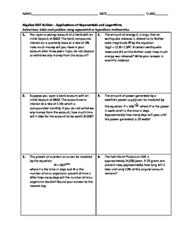 Algebra Skill Builder - Applications of Exponentials and Logarithms