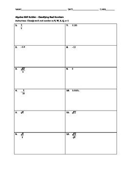 Algebra Skill Builder - Classifying Real Numbers