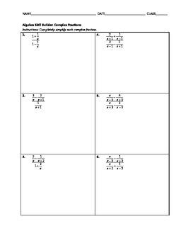 Algebra Skill Builder - Complex Fractions