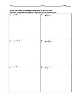 Algebra Skill Builder - Converting Linear Equations to Standard Form