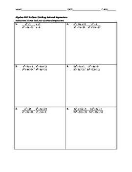 Algebra Skill Builder - Dividing Rational Expressions