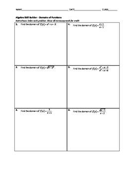 Algebra Skill Builder - Domains of Functions