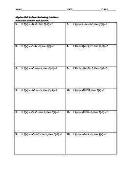 Algebra Skill Builder - Evaluating Functions