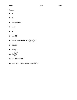 Algebra Skill Builder - Exponentials and Logarithms Challenge Problems