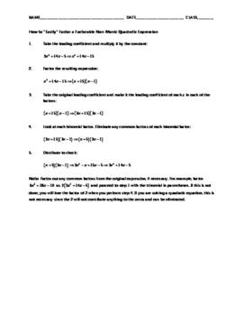 Algebra Skill Builder - Factoring Non-Monic Quadratic Expressions FREE