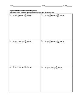 Algebra Skill Builder - Geometric Sequences