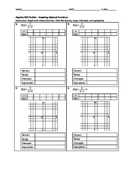 Algebra Skill Builder - Graphing Rational Functions