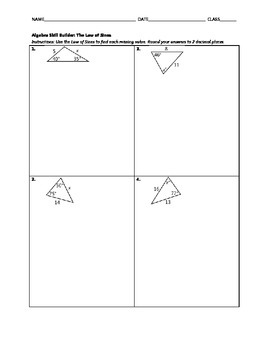 Algebra Skill Builder - Law of Sines