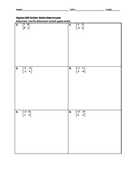 Algebra Skill Builder - Matrix Determinants