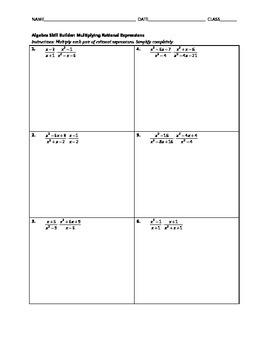 Algebra Skill Builder - Multiplying Rational Expressions