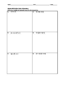 Algebra Skill Builder - Order of Operations