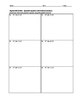 Algebra Skill Builder - Quadratic Equations with Irrational Solutions