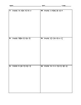 Algebra Skill Builder - Simplifying Algebraic Expressions