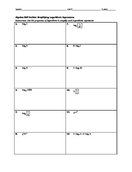 Algebra Skill Builder - Simplifying Logarithmic Expressions