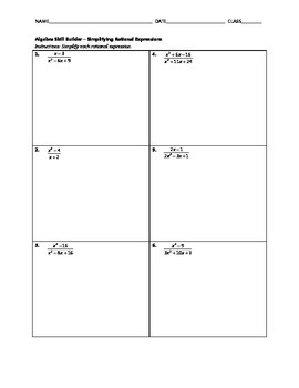 Algebra Skill Builder - Simplifying Rational Expressions