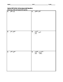 Algebra Skill Builder - Solving Exponential Equations