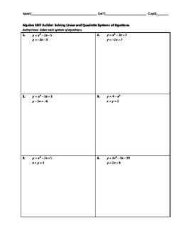 Algebra Skill Builder - Solving Linear and Quadratic Systems of Equations