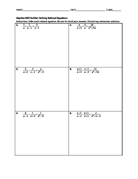 Algebra Skill Builder - Solving Rational Equations