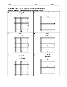 Algebra Skill Builder - Solving Systems of Linear Equations by Graphing