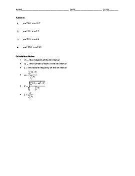 Algebra Skill Builder - Statistics from Grouped Data FREE