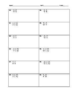 Algebra Skill Builder - Subtracting Fractions