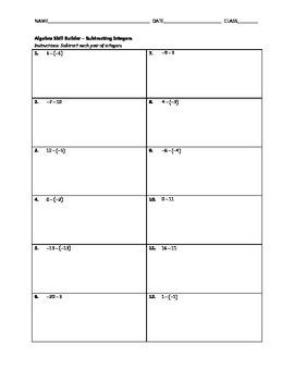 Algebra Skill Builder - Subtracting Integers
