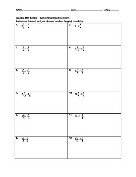 Algebra Skill Builder - Subtracting Mixed Numbers