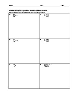 Algebra Skill Builder - Summation Notation