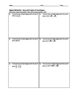 Algebra Skill Builder - Zeros and Functions of Least Degree