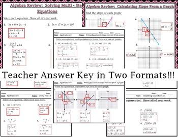 Algebra Skills Review For Geometry Bellwork/ringers - Station Cards