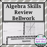 Algebra Skills Review For Geometry Bellwork/ringers - Station Cards