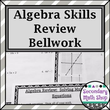 Algebra Skills Review For Geometry Bellwork/ringers - Stat