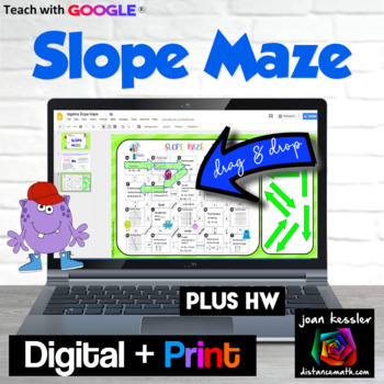 Algebra Slope Maze plus HW with GOOGLE Slides™