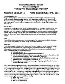 Algebra Slope Project: College Savings Plan