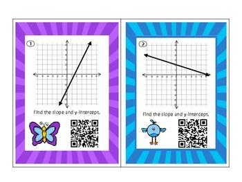 Algebra Slope and Intercept Task Cards QR Codes