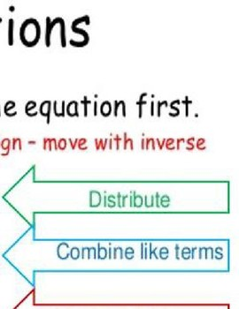 Algebra Solve Multiple Step Equations Anchor Chart Poster