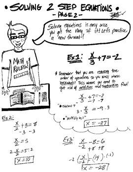 Algebra: Solving 2-Step Equations - Cartoon Notes