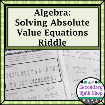 Algebra 1 Absolute Value Equations Teaching Resources Teachers Pay