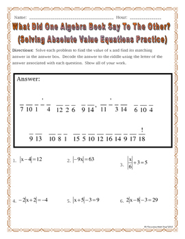 Solving Absolute Value Equations Practice Riddle Worksheet Tpt