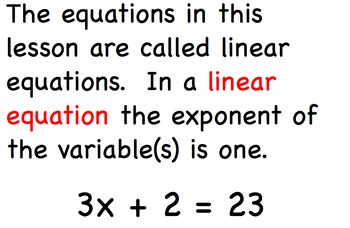 Solving Equations Algebra