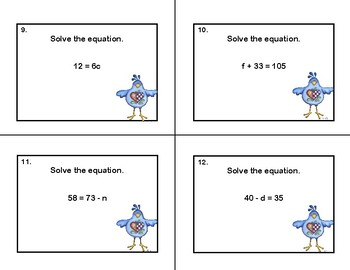Algebra-Solving Equations- All Four Operations- 120 Math Task Cards