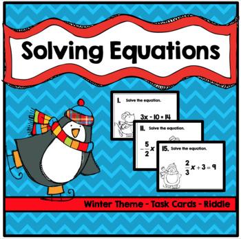 Algebra Solving Equations Puzzle (Winter Theme)