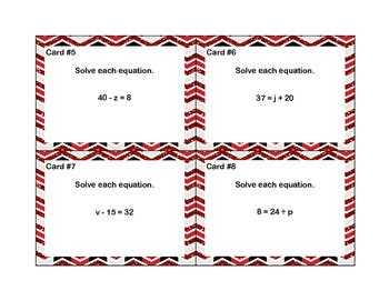 Algebra-Solving Equations Using All 4 Operations- Grade 6-24 Cards-Glitter