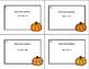 Algebra-Solving Equations Using All 4 Operations- Grade 6-32 Cards-Pumpkin Theme