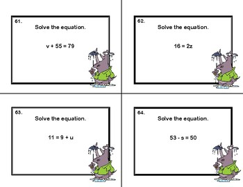 Algebra-Solving  Equations Using All Four Operations -Grade 6-120 Task Cards