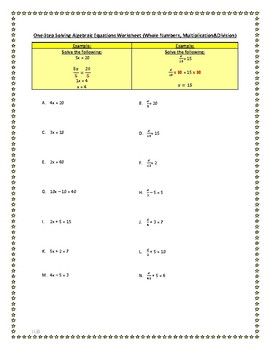 Algebra Solving Equations Worksheet (Whole Numbers, Multiplication and Division)