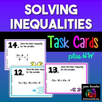 Algebra Solving Inequalities Task Cards plus HW