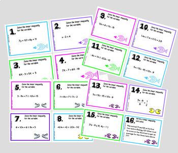 Solving Inequalities Task Cards plus HW